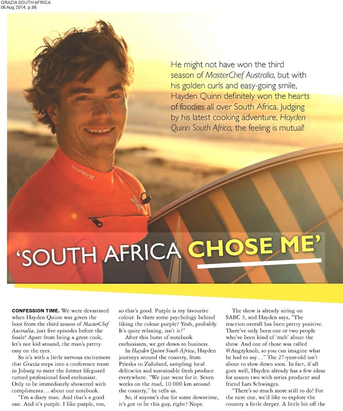 Hayden Quinn South Africa