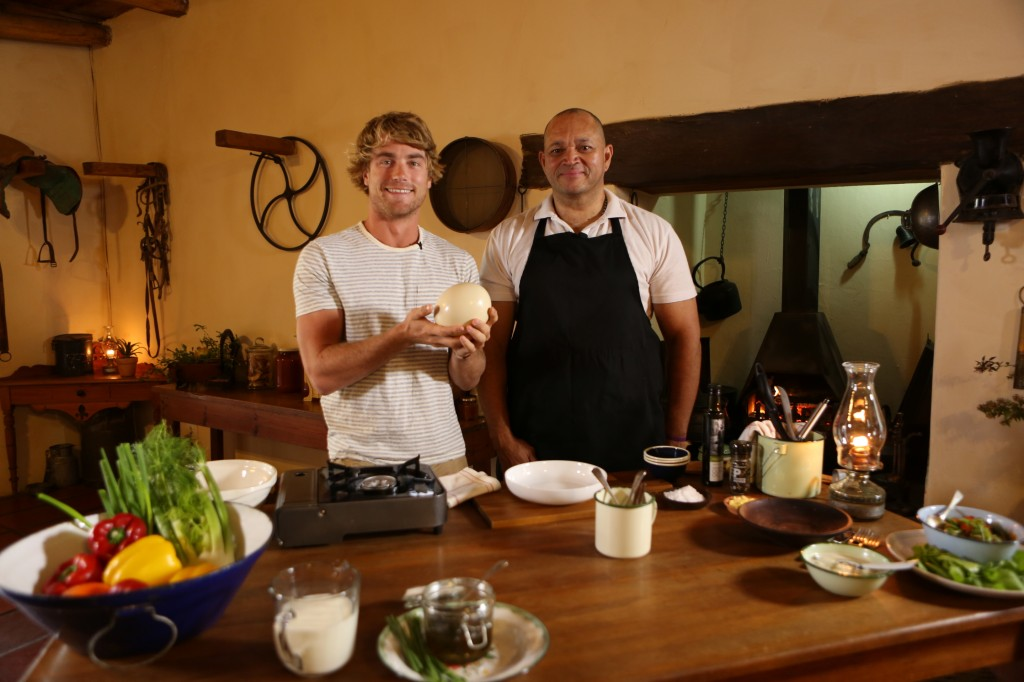 Hayden and a chef in a Karoo styled kitchen