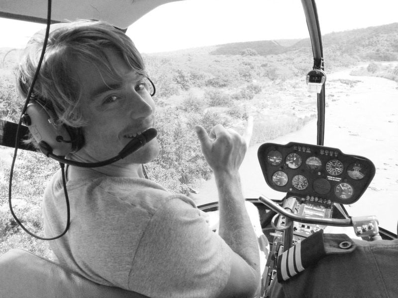 Hayden in a helicopter