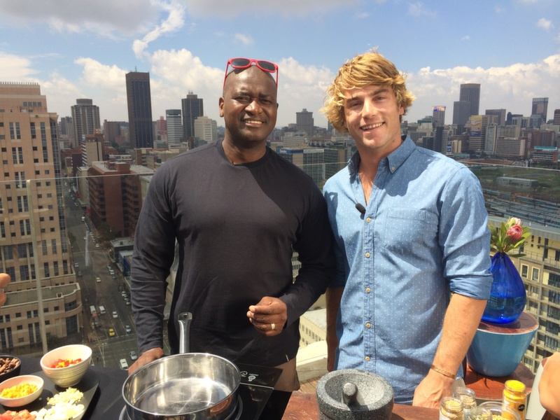 Hayden poses with Chef Khumalo