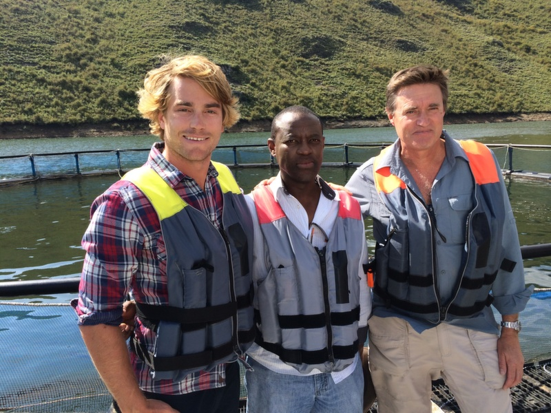 Hayden and his guides at the Katse Fish Farm