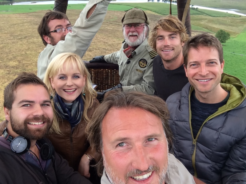 Behind the scenes crew in the hot air balloon