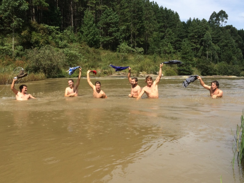 Hayden and the crew swim