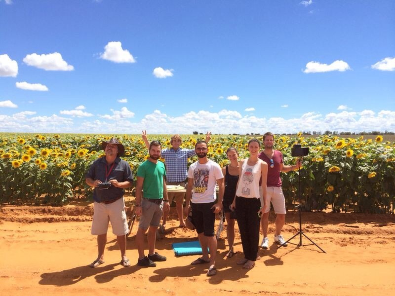 Crew in front of a sunflower field.